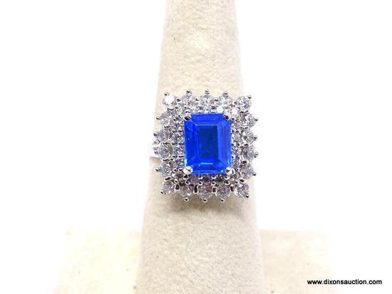 .925 SWISS BLUE TOPAZ RING; NEW AAA TOP QUALITY INTENSE EMERALD CUT SWISS BLUE TOPAZ WITH 35 DIAMOND