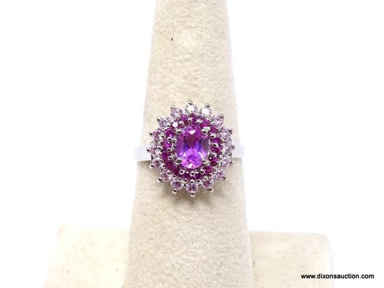 .925 PINK TOURMALINE RING; AAA TOP QUALITY NEW PINK TOURMALINE, PINK KUNZITE RING SURROUNDED BY