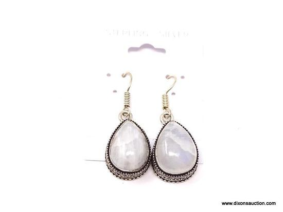 """.925 MOONSTONE EARRINGS; GORGEOUS NEW AAA QUALITY 14 2/8"""" DETAILED MOONSTONE EARRINGS. RETAIL PRICE"""
