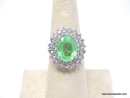 .925 TRANSLUCENT AFRICA EMERALD RING; NEW GORGEOUS OVER 10 CT FACETED UNHEATED AFRICAN TRANSLUCENT