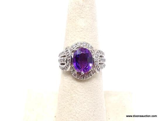 .925 AMETHYST RING; AAA NEW TOP QUALITY OVER 30 CT OVAL PURPLE AMETHYST RING SURROUNDED BY DIAMOND