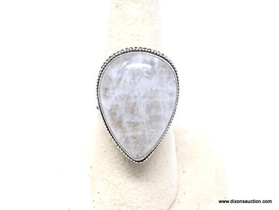 .925 MOONSTONE RING; GORGEOUS NEW AAA QUALITY OVAL SHAPED DETAILED MOONSTONE RING WITH WIDE BAND.