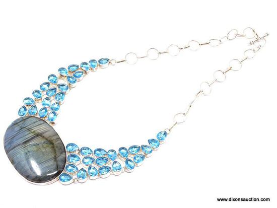 """.925 LABRADORITE NECKLACE; NEW AAA TOP QUALITY .925 STERLING SILVER 18""""-22"""" NECKLACE WITH HUGE BLUE"""