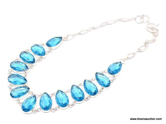 """.925 SWISS BLUE TOPAZ NECKLACE; NEW 18-20"""" AAA TOP QUALITY GORGEOUS DESIGNER NECKLACE WITH LARGE"""