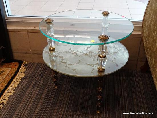 (WINDOW) TIERED GLASS SIDE TABLE; 1 IN A PAIR OF 2-TIERED, ROUND, GLASS SIDE TABLES WITH 3 ACRYLIC