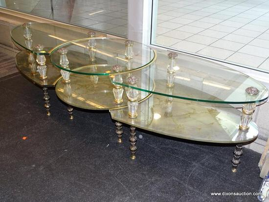 (WINDOW) TIERED GLASS COFFEE TABLE; 3 PC., OVAL, GLASS COFFEE TABLE WITH 2 ARROW SHAPED PIECES THAT