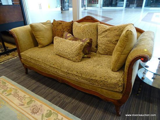 "(WINDOW) DREXEL HERITAGE CAMELBACK SOFA; LOUIS XV STYLE, ROLLING ARM, CAMELBACK SOFA WITH A 43""BEIGE"