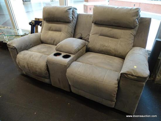 (WINDOW) HOME THEATRE 2-SEATER RECLINER; GRAY UPHOLSTERED 2-SEATER HOME THEATRE RECLINING SOFA WITH