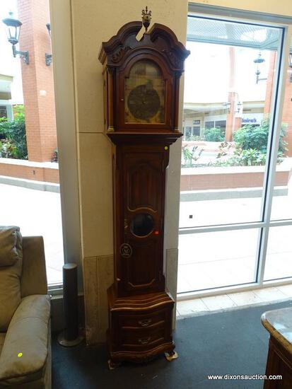 (WINDOW) MAITLAND SMITH GRANDFATHER CLOCK; WALNUT GRANDFATHER CLOCK WITH A FRENCH SCENE ON THE