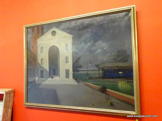 "FRAMED HENRY WOLF OIL ON CANVAS; ""TRAIN STATION"" BY HENRY WOLF WAS PAINTED IN 1980. THIS PIECE SHOWS"