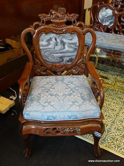 (R1) HEAVILY CARVED ORIENTAL ARM CHAIR; BLACK & WHITE MARBLE BACK, DRAGON CARVED BACK & ARMS, BALL &