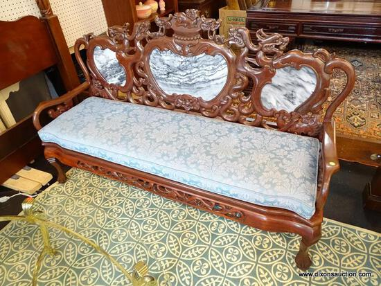 (R1) HEAVILY CARVED ORIENTAL SOFA; 3 PIECE BLACK & WHITE SECTIONED MARBLE BACK, DRAGON CARVED BACK &