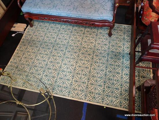 (R1) ALLEN + ROTH BLUE AND CREAM AREA RUG; FLORAL GEOMETRIC PATTERNED, INDOOR WOVEN AREA RUG.