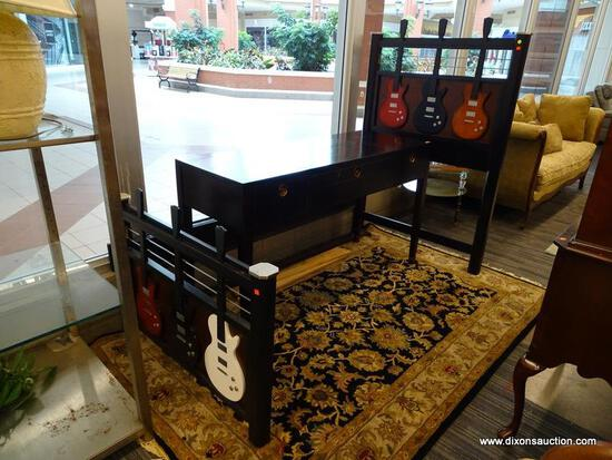 (WINDOW) TWIN SIZED GUITAR BED; BLACK TWIN SIZED WITH A RED, BLACK AND NATURAL WOOD GUITAR ON THE
