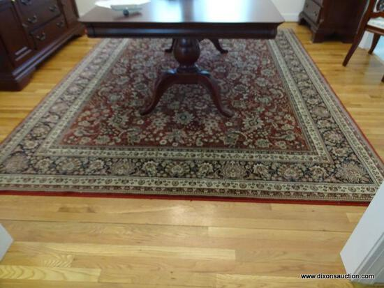 (DR) RUG; MACHINE MADE ORIENTAL STYLE RUG IN MAROON AND IVORY- 99 IN X 117 IN