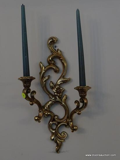 (DR) WALL SCONCES; PR. OF SYROCO GOLD WALL SCONCES WITH CANDLES- 10 IN X 17 IN