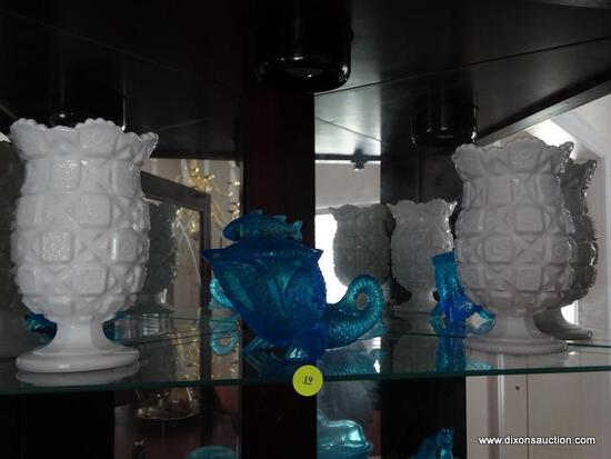 (DR) CONTENTS OF CURIO; LOT INCLUDES PR. MILK GLASS VASES, BLUE FISH SHAPED CANDY DISH, BLUE BUTTER