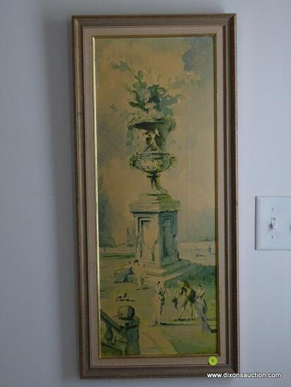 (HALL) PR. OF PICTURES; PR. OF PRINTS ON BOARD OF ROMAN URNS IN GOLD FRAMES- 14 IN X 31 IN