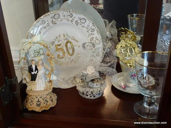 (DR) SHELF LOT; LOT INCLUDES -50TH ANNIVERSARY PLATTER, PRESSED GLASS VASES, 2 PR. GLASS