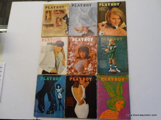 1967 PLAYBOY MAGAZINES; 9 PIECE LOT OF 1967 PLAYBOY MAGAZINES TO INCLUDE EVERY MONTH BUT MAY, JUNE,