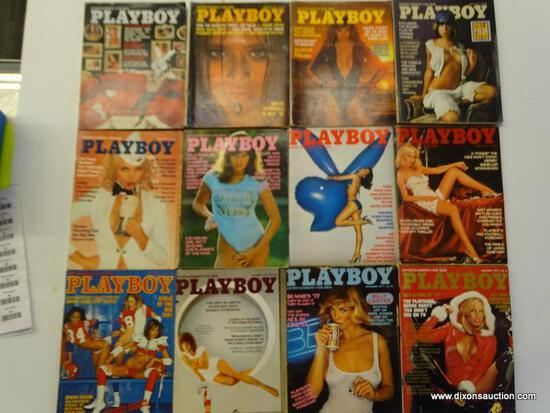 1977 PLAYBOY MAGAZINES; ALL 12 EDITIONS FORM THE 1977 PLAYBOY COLLECTION.
