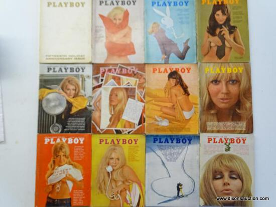 1969 PLAYBOY MAGAZINES; ALL 12 EDITIONS FROM THE 1969 PLAYBOY COLLECTION.