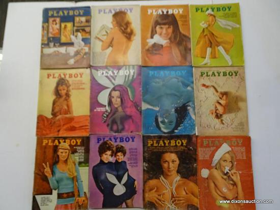 1970 PLAYBOY MAGAZINES; ALL 12 EDITIONS FROM THE 1970 PLAYBOY COLLECTION.