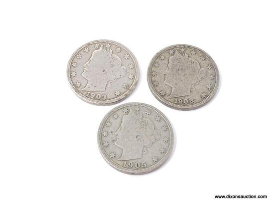 1903, 1905, AND 1908 LIBERTY NICKELS.