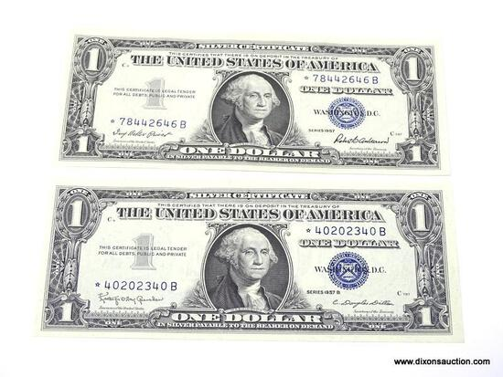 PAIR OF 1$ SILVER CERTIFICATES GEM UNC STAR NOTES. ?