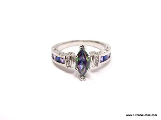 .925 STERLING SILVER LADIES LEFT MYSTIC TOPAZ RING. SIZE 8.5.