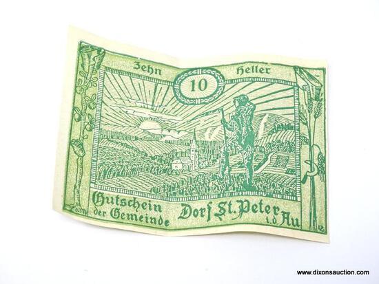 10 PIECE LOT OF HELLER AUSTRIAN NOTES.