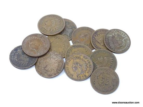 13 PIECE LOT OF ASSORTED INDIAN CENTS.