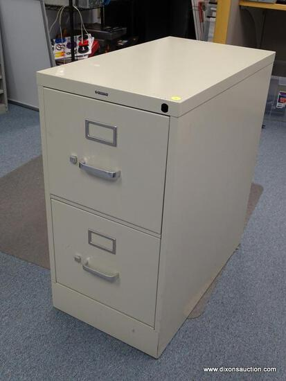 """(OFC2) TAN COLORED TWO DRAWER HON LATERAL FILING CABINET. MEASURES 27"""" X 15"""" X 29""""."""