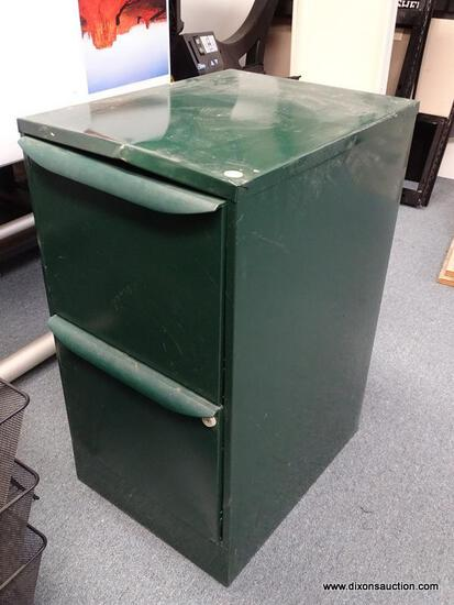 """(OFC3) GREEN METAL 2 DRAWER LATERAL FILING CABINET. HAS SOME MARKS AND DENTING. MEASURES 14.5"""" X 19"""""""