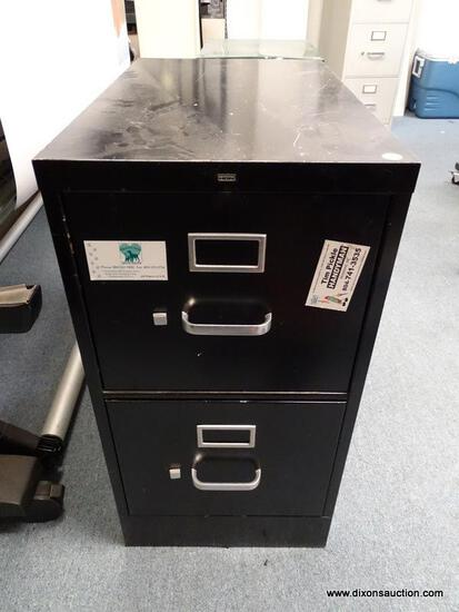 """(OFC3) BLACK METAL HON 2 DRAWER LATERAL FILING CABINET. HAS MARKS AND DENTING. MEASURES 15"""" X 25"""" X"""