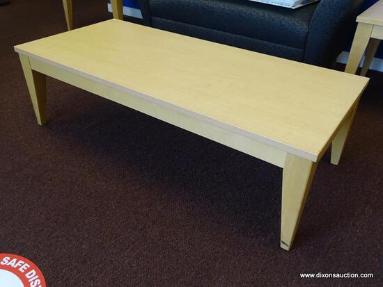 """(FOY) MCM STYLE NATURAL WOOD GRAIN COFFEE TABLE WITH RECTANGULAR TOP AND TAPERED LEGS. MEASURES 54"""""""
