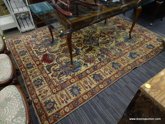 (R1) VINTAGE FLORAL AREA RUG; BLUE, BEIGE, AND RED, FLORAL AND GEOMETRIC PATTERNED, AREA RUG. HAS