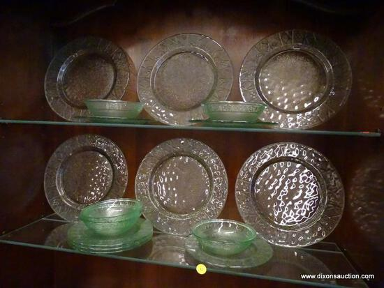 (R1) LOT OF ASSORTED GREEN TONED GLASS DISHES; 17 PIECE LOT OF ASSORTED SEE THROUGH, GREEN TONED