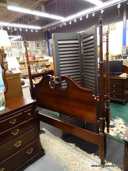 (R1) CONTINENTAL FURNITURE CO. FULL SIZE BED; MAHOGANY BED WITH A BROKEN ARCH PEDIMENT HEAD BOARD, A