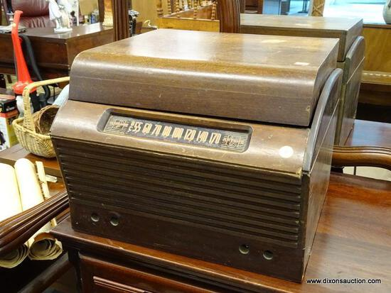 """(R1) BASE ARTONE RECORD PLAYER; VINTAGE 9"""" VINYL RECORD PLAYER WITH BUILT IN FM RADIO. MODEL NO."""