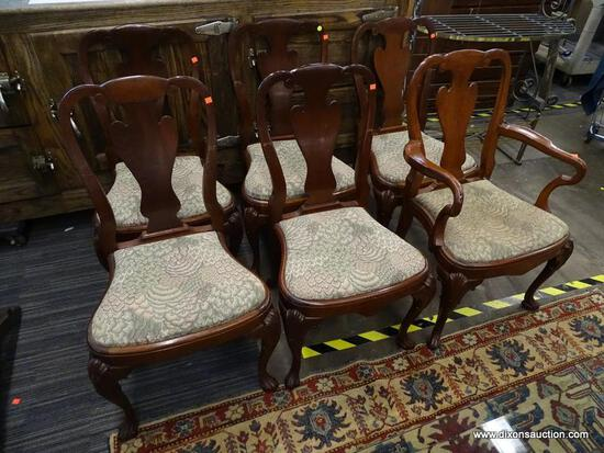 (R1) QUEEN ANNE DINING CHAIRS; SET OF 6 MAHOGANY, QUEEN ANNE VASE BACK STYLE DINING CHAIRS WITH A