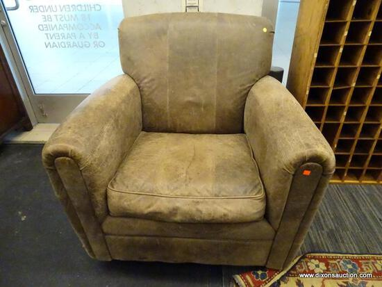 """(R1) FAIRFIELD SOFA CHAIR; CUSHIONED ARM CHAIR WITH WORN LOOK LEATHER UPHOLSTERY. MEASURES 39"""" X 35"""""""