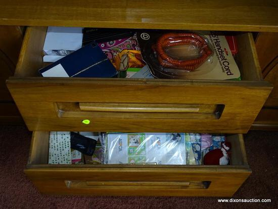 (DR) CONTENTS OF DRAWERS AND SLIDING CABINETS; LOT TO INCLUDE A CROSS QUICKSILVER PEN, A PARKER