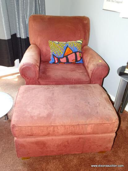 (DR) UPHOLSTERED ARM CHAIR WITH OTTOMAN; ROLLING ARM, RED UPHOLSTERED ARM CHAIR WITH BLOCK FEET AND
