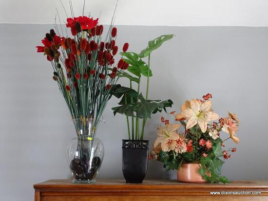 (DR) LOT OF ARTIFICIAL PLANTS IN VASES; 3 PIECE LOT TO INCLUDE A LARGE LEAF ARTIFICIAL PLANT IN A