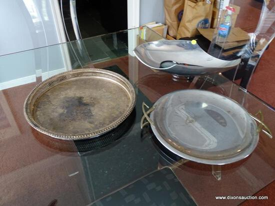 (DR) LOT OF SERVING TRAYS AND A MODERN BOWL; 3 PIECE LOT TO INCLUDE MODERN, METAL TRINKET BOWL, A WM