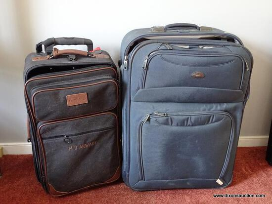 "(DR) PAIR OF SUITCASES; 2 PIECE LOT TO INCLUDE A BLUE SAMSONITE SUITCASE (19"" X 9"" X 27"") AND A DARK"