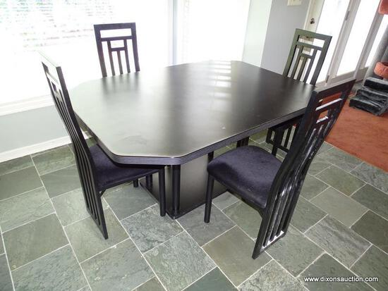 (KIT) TABLE AND CHAIRS; MODERN BLACK PEDESTAL BASE TABLE- 59.5 IN X 41.5 IN X 29.5 IN AND 4 METAL