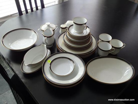 (KIT) CHINA LOT; 32 PCS. OF ROYAL PRESTIGE CHINA IN NOCTURNE PATTERN- 4 PC. PLACE SETTING MISSING 3