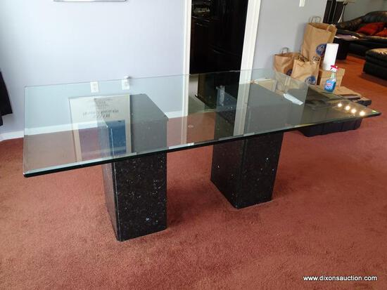 (DR) GLASS TOP DINING TABLE; BEVELED EDGE, DINING TABLE WITH A DOUBLE PEDESTAL, BLACK CULTURED